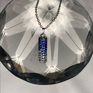 Shades of blue pave pendant w/ chain